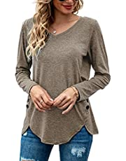 AISEW Women Short/Long Sleeve Shirts V-Neck Button Tunics Casual Tops Blouses