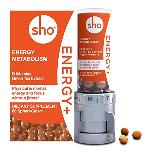 SHO Energy Kit Vegan Energy Alert Focus Supplements Matcha Green Tea Extract Vitamin B Complex with Caffeine Calm Energy Boosters for Women and Men Without Jitters 60 Energy Gel