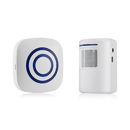 OWSOO Timbre Inalámbrico con 1 Transmisor 1 Receptor Sensor de Movimiento Infrarrojo PIR Alarma de Inducción