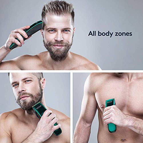 Men's Cordless Hair Clippers Rechargeable Hair Trimmers Professional Grooming Kit with Clipper & Trimmer for Beard, Head, Body, and Face (Olive)
