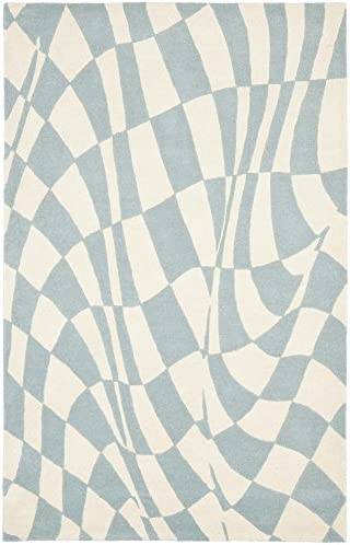Safavieh Soho Collection SOH763A Handmade Abstract Checkered Blue and Ivory Premium Wool Area Rug 7 6 x 9 6
