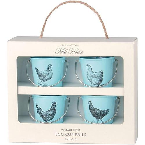 Eddington Vintage Set of 4 Egg Cup Buckets Duck Egg Blue