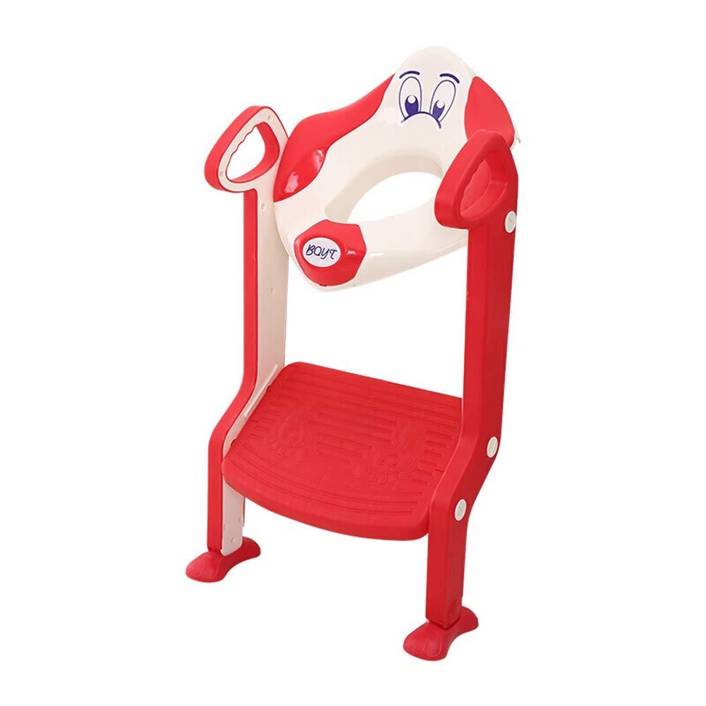 トイレシートステップスツールラダーベビーラダートイレ - 滑り止めソフト男性と女性の赤ちゃん多機能子供トイレシートトレーニング階段トイレ HENGXIAO (色 : 赤)  赤 B07R9HR9QL