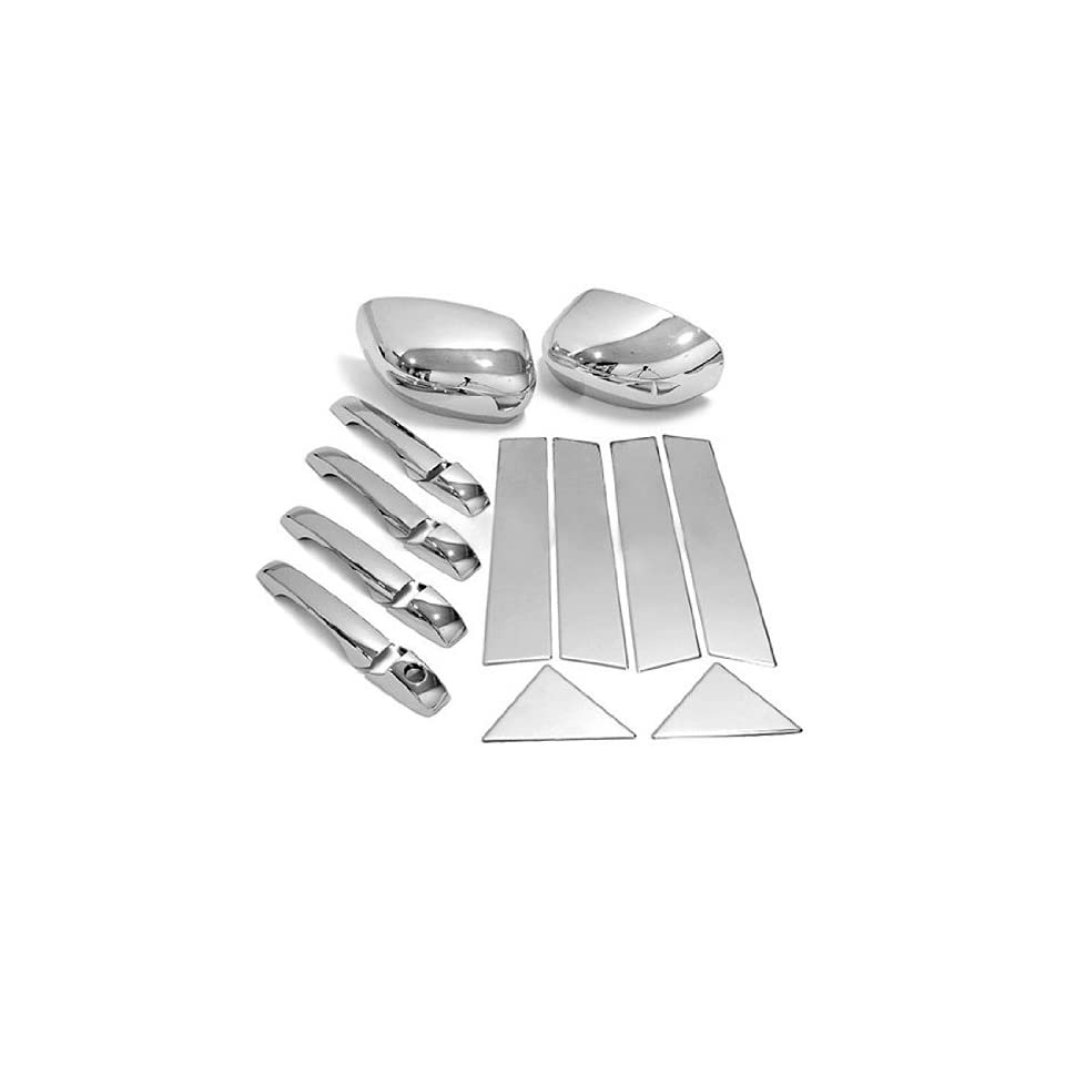 16 pcs High Quality Triple Chrome Plated Door Handle Driver Side Keyhole Mirror Cover + Stainless Steel Pillar Post Combo Trim Decoration Set for 05 06 07 08 09 10 2005 2006 2007 2008 2009 2010 Chrysler 300/300C