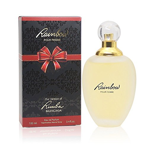 - RAINBOW POUR FEMME, Our Version of RUMBA BY BALENCIAGA, 3.4 Fl.Oz Eau de Parfum Spray for Women, Perfect Gift, Floral Fragrance, Daytime and Casual Use, for all Skin Types