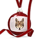 Christmas Decoration Low Poly zoo Animals Red Wolf Ornament