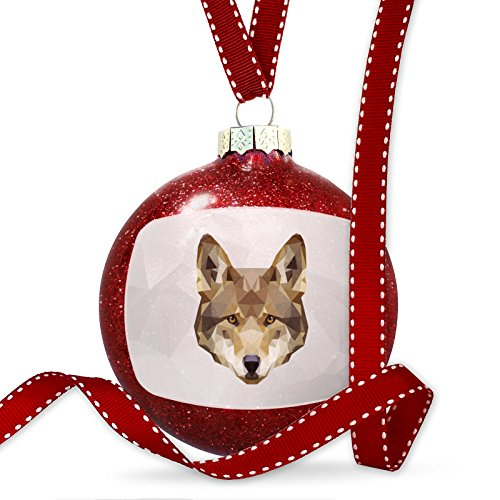 Christmas Decoration Low Poly zoo Animals Red Wolf Ornament by NEONBLOND