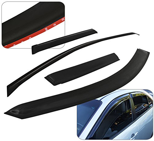 Gmc Canyon Chevy Chevrolet Colorado Crew Cab Jdm Tape-on Door Window Visor Rain Guard Shade Wind Sun Deflector Aerodynamic Vent Ventilation 4 Pieces