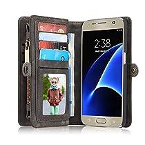 IPhone/Samsung Leder Case Hülle mit Kartenfächer 6/6S/7/6 Plus/6S Plus/7 Plus Note7/S7/S7Edge/S8/S8 Edge Geldscheinfach mit Reißverschluss Magnet Handy Schutzhülle