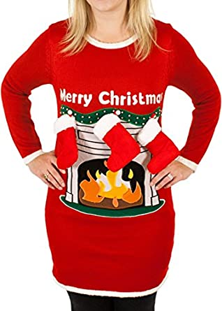 women s fireplace lighted ugly christmas sweater with stockings in - Lighted Christmas Sweaters