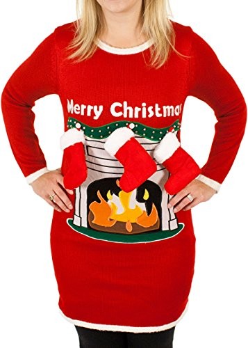 Women's Fireplace Lighted Christmas Sweater with 3-D Stockings in Red (Large) By Festified