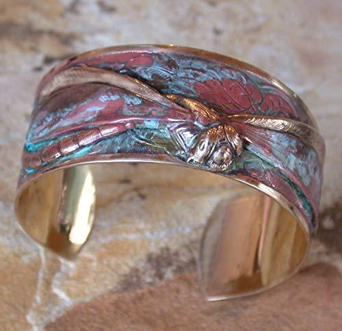 Elaine Coyne Wearable Art Patina Dragonfly Cuff Bracelet