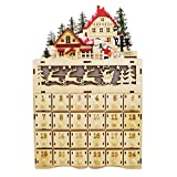 Midwest-CBK Chalet Christmas LED Light Up 9 x 14 Inch Laser Cut Wood Interactive Advent Calendar