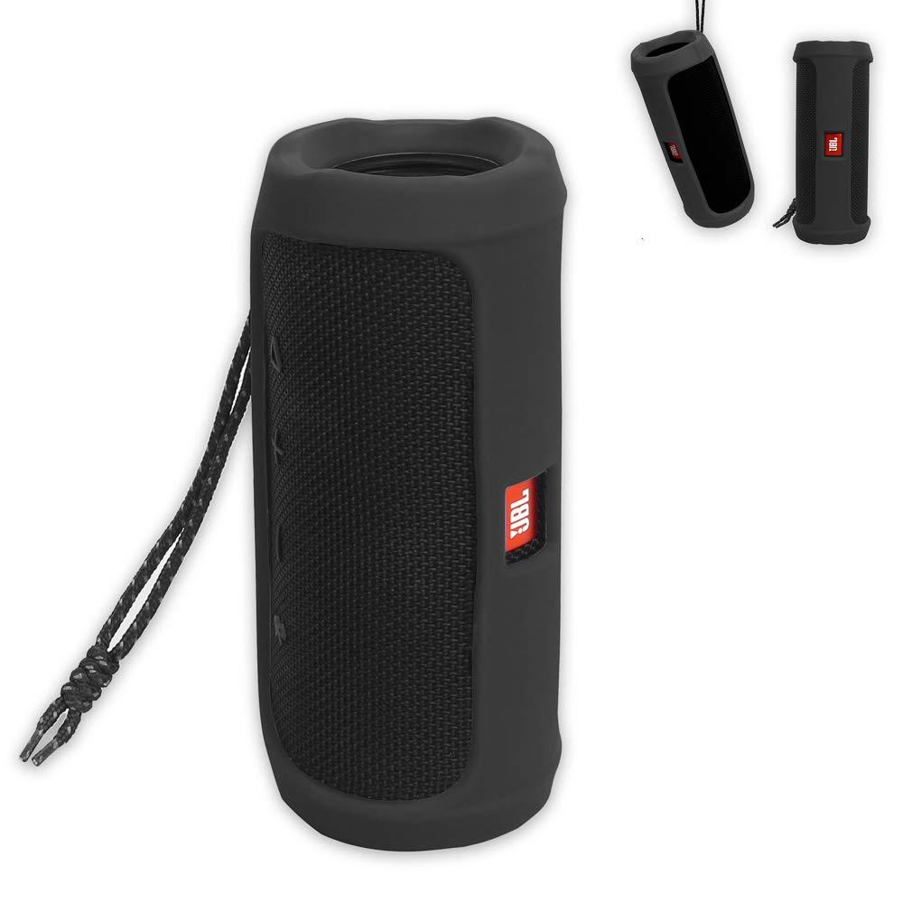 JBL Flip 4 Bluetoothスピーカー用のPushingbest キャリーシリコンケース。 USBケーブルとアクセサリーに適合(ブラック) B07K72YJZ6