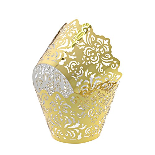 UNIQLED Filigree Artistic Bake Cake Paper Cups Little Vine Lace Laser Cut Liner Cupcake Wrappers Baking Cup Muffin Holder Case for Wedding Birthday Party Decoration (100, Metallic Gold 1)