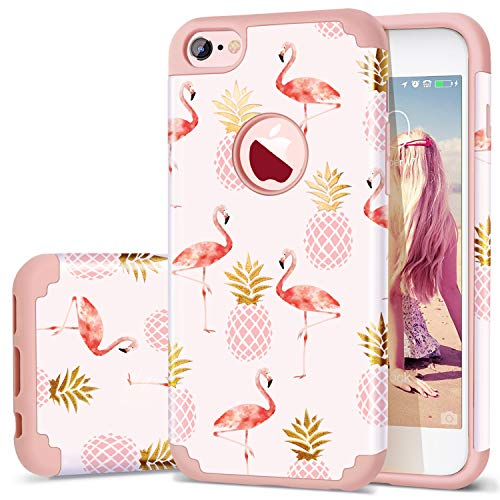 Fingic Phone case Compatible for iPhone 6/iPhone6s,Summer Pineapple&Flamingos Pattern Cute Case Hard PC&Soft Silicone Case for Girls Cover for Apple iPhone - Flamingo Pattern