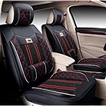 Icegirl Universal Needlework Front & Rear Car Seat Cushion Cover For Jeep Cherokee Compass Grand Cherokee Patriot Wrangler JK & Unlimited Liberty 5 Seats (Black & Red)