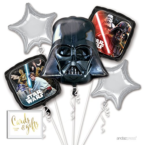 Andaz Press Balloon Bouquet Party Kit with Gold Cards & Gifts Sign, Star Wars Darth Vader Foil Mylar Balloon Decorations, 1-Set]()