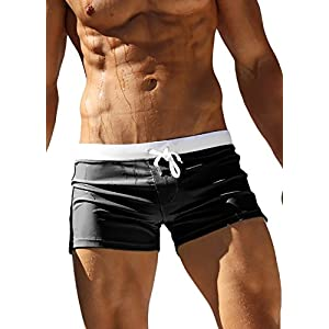 Cocobla Men Swim Brief Sexy Surfing Board Shorts Beach Boxer Swimming Trunks with Pockets(Order One Size UP)