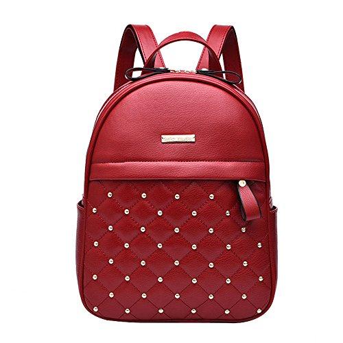 JUND - Bolso mochila para mujer Negro Negro Rojo