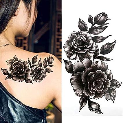 Yangll Flor Grande Negro Arte Corporal Impermeable Temporal Sexy ...