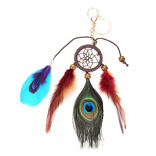 Diamondo Fashion Handmade Dreamcatcher Keychain Feathers Car Bag Key Rings Women