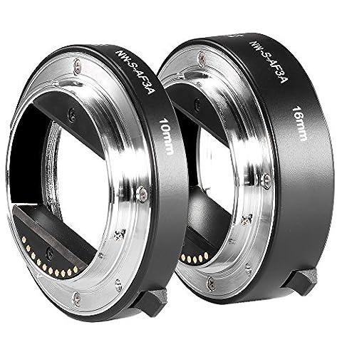 Neewer Metal AF Auto-focus Macro Extension Tube Set 10mm&16mm for Sony NEX E-mount Camera NEX 3/3N/5/5N/5R/A6000/A6300 and Full Frame A7 A7S/A7SII A7R/A7RII (Viewfinder Series 3)