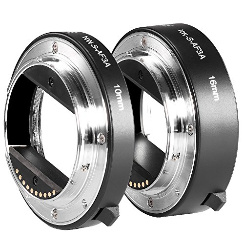 Neewer Metal AF Auto-Focus Macro Extension Tube Set 10mm&16mm for Sony NEX E-Mount Camera NEX 3/3N/5/5N/5R/A6000/A6300 and Full Frame A7 A7S/A7SII A7R/A7RII A7II (Best Budget Full Frame Mirrorless Camera)