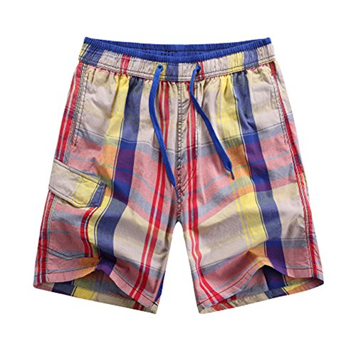 (Janjunsi Men Quick Dry Plaid Print Drawstring Swim Trunks Shorts Swimsuit)