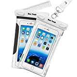Waterproof Case, 2 Pack Ace Teah Clear Transparent Universal Waterproof Case with comb, Dry Bag, Pouch, Snowproof Dirtproof for iPhone 6 6S, Samsung Galaxy S6, Note 5 3, Nexus 6p 5x - Black, White