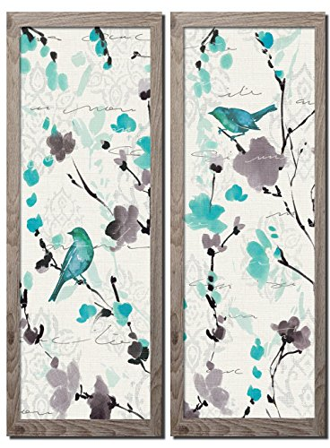 (Gango Home Décor Beautiful Teal and Gray Watercolor-Style Floral and Bird Print Set by Pela; Two Framed 8x18in Prints; Ready to Hang!)