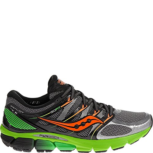 Saucony Men's Zealot ISO Running Shoe, Grey/Slime/Orange,10 M US