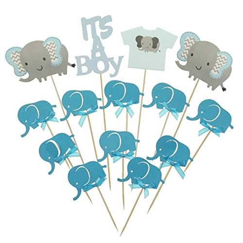 Shxstore Gray and Blue Elephant Cake Cupcake Topper Picks For It's A Boy Baby Shower Birthday Themed Party Decorations -