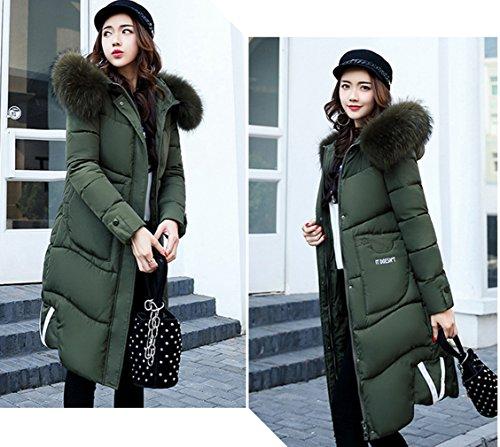 Parkas Hood Green Size Quilted Faux A Women Fur Line Plus COMVIP Thick Coat z7vwcOx