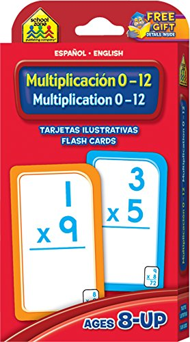 - School Zone - Bilingual Multiplication 0-12 Flash Cards, Ages 8 and Up, Grades 3 to 4, ESL, Language Immersion, Math Flash Cards, Beginning Algebra, ... and English Edition) (Spanish Edition)