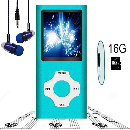 Mp3 Player   Mp4 Player  Hotechs Mp3 Music Player With 16Gb Memory Sd Card Slim Classic Digital Lcd 1 82 Screen Mini Usb Port With Fm Radio  Voice Record