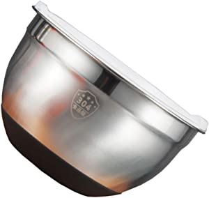 HEMOTON Stainless Steel Mixing Bowl with Silicone Lid Kitchen Food Storage Organizer Silver 22cm