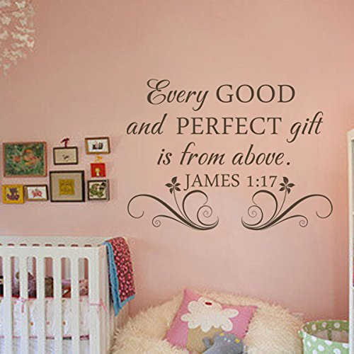 Every Good And Perfect Gift Is From Above James 1:17 Bible Wall Decal Religous Wall Quote Christian Wall Sticker Wall Mural Home Art Decoration Black