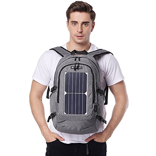 ECEEN Solar Powered Business Laptop Backpack Slim Computer Bag College School Backpack Eco-friendly Travel Shoulder Bag with 7 Watts Solar Panel & USB Charging Port Fits UNDER 15.6'' Laptop & Notebook by ECEEN (Image #6)