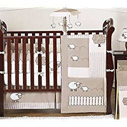 Sweet Jojo Designs Little Lamb, Sheep Animal Farm Baby Boy Girl Unisex Bedding 9pc Crib Set