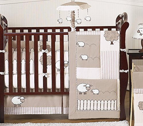 Sweet Jojo Designs Little Lamb, Sheep Animal Farm Baby Boy Girl Unisex Bedding 9pc Crib Set