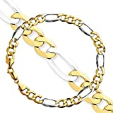 """MEN Set 2 Pieces two tone 7 MM Figaro Link S Steel Chain Necklace + Bracelet 24"""" + 8.5"""" or 28"""" + 8.5"""""""
