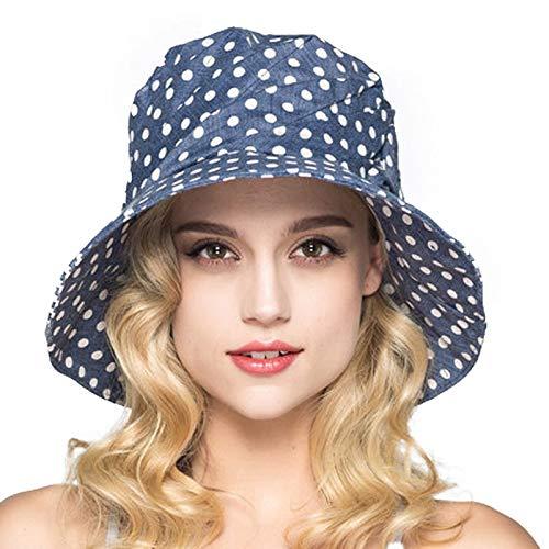 Amazon.com: LooBooShop Fashion Summer Wide Brim Cotton Bucket Hat for Women Polka Dot Foldable Sun Hats Casual Lady Floppy UV Beach Visors Cap: Kitchen & ...