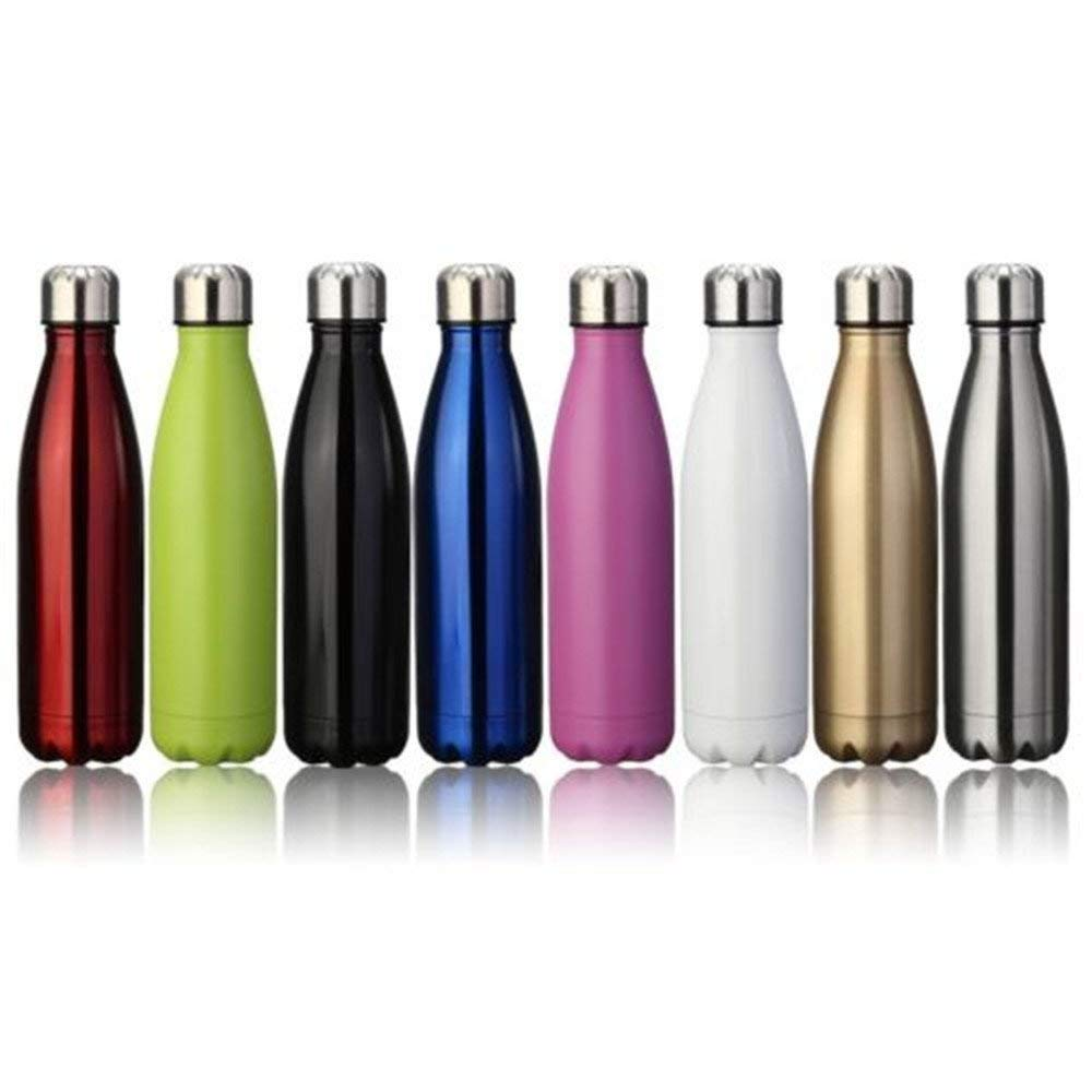 Botellas de vac/ío termo de agua de acero inoxidable con aislamiento de doble pared con un cepillo para exteriores champ/án dorado, 1 L