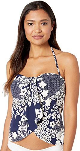 Vince Camuto Women's Zen Garden Draped Bandini Top Deep Sea ()