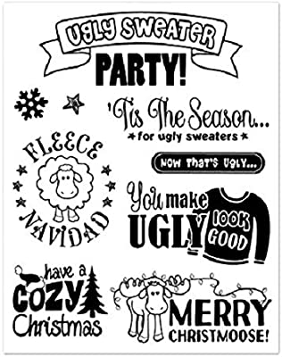 Forever in Time Clear Cling Rubber Stamp Ugly Sweater Party Cozy Holiday