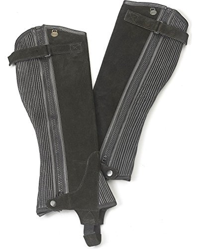 Ovation Women's Ribbed Suede Half Chaps Black Large US (Ribbed Chap Suede Half)