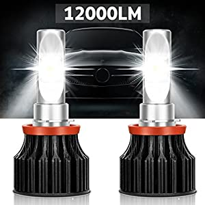 LED Headlight Bulbs -12000 Lumen,Kakit H11(H8 H9) CREE XHP50 6000K Cool White Safety Beam Pattern,3-Year Replacement Warranty