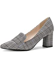 Allegra K Women's Pointed Toe Block High Heel Plaid Pumps Shoes