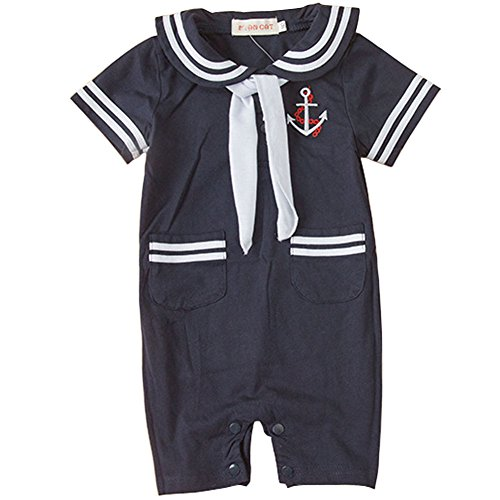Celebrity Infant Costumes (Carrillos Boys Short Sleeve Sailor Suit Romper Onesie Outfit,Navy,18-24M,Tag:95)